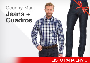 Country man: jeans + cuadros