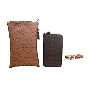 Jo Jo A7 Zara Sr Croc Leather Wallet sling Bag clutch Pouch Mobile Phone Case Cover For Lava Iris 352e Dark Brown