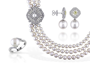 Photo of fine pearl jewelry from the beauty care section.
