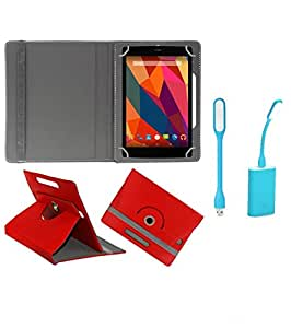 Gadget Decor (TM) PU Leather Rotating 360° Flip Case Cover With Stand For Zync Z900 + Free USB Led Light - Red