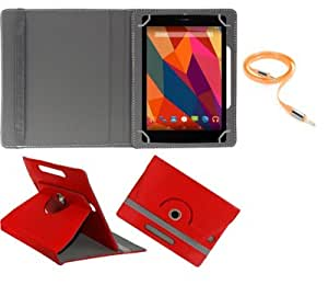 Gadget Decor (TM) PU LEATHER Rotating 360° Flip Case Cover With Stand For Huawei MediaPad 7 Youth2  + Free Aux Cable -Red