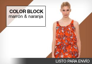 Color block: marrón y naranja