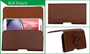 Jkobi Exclusive Belt Case Mobile Leather Carry Pouch Holder Cover With Belt Clip Compatible For LenovoA5000 -Brown