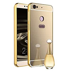 Droit Luxury Metal Bumper + Acrylic Mirror Back Cover Case For leTVLetvIS Gold + Portable & Bendable Silicone, Super Bright LED Lamp, 360 Degree Flexible by Droit Store.