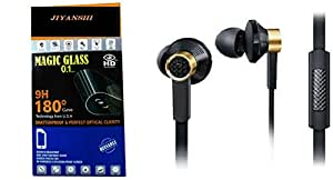 JIYANSHI Samsung Galaxy S Advance Compatible Combo of Screen Guard/Screen Protector & Earphone With Super Sound (Black)