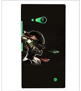 PrintDhaba Man Face Impression D-5424 Back Case Cover for NOKIA LUMIA 730 (Multi-Coloured)