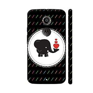 Colorpur Elephant With Red Heart On Black Artwork On Motorola Moto X2 Cover (Designer Mobile Back Case) | Artist: Designer Chennai