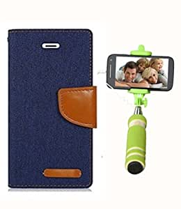 Aart Fancy Wallet Dairy Jeans Flip Case Cover for Apple4G (NavyBlue) + Mini Fashionable Selfie Stick Compatible for all Mobiles Phones By Aart Store