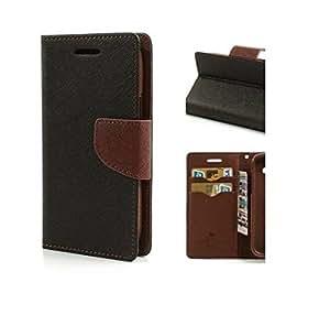 Rainbow Mercury Goospery FANCY Diary Card Wallet CASE Flip Cover for Samsung Galaxy S6 -Black&Brown