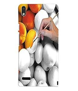 Fuson 3D Printed Colouring Fruit Designer Back Case Cover for Huawei Ascend P6 - D925