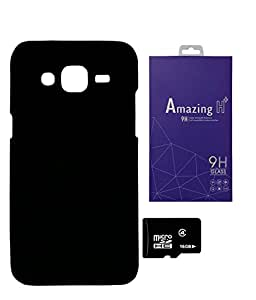 SAMSUNG Galaxy J2 PRINTZ Hard Black Back Case Cover With 16 GB MEMORY CARD AND TEMPERED CLASS Combo