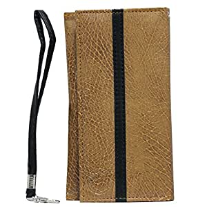 Jo Jo A5 S Series Leather Wallet Universal Pouch Cover Case For Micromax Canvas Doodle 3 Tan Black