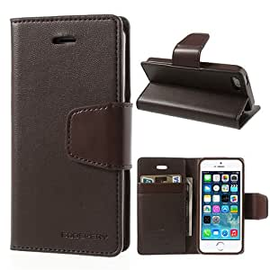 Mercury Sonata Diary Leather Wallet Case Cover for iphone SE 5 5S - BROWN