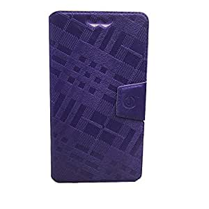 Jo Jo Cover Krish Series Leather Pouch Flip Case With Silicon Holder For Archos 45 Helium 4G Purple