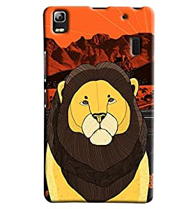 Blue Throat Lion Made Of Stripes Printed Designer Back Cover For Lenovo A7000