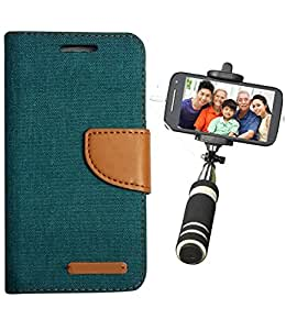 Aart Fancy Wallet Dairy Jeans Flip Case Cover for SamsungSamsung7106 (Green) + Mini Fashionable Selfie Stick Compatible for all Mobiles Phones By Aart Store