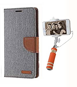 Aart Fancy Wallet Dairy Jeans Flip Case Cover for Xperias36h (Grey) + Mini Fashionable Selfie Stick Compatible for all Mobiles Phones By Aart Store