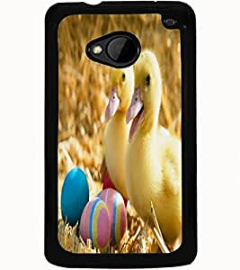 ColourCraft Cute Baby Chickens Design Back Case Cover for HTC ONE M7