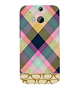 PrintVisa Checks Fabric Pattern 3D Hard Polycarbonate Designer Back Case Cover for HTC One M8
