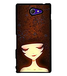 Fuson Premium 2D Back Case Cover Cute Girl With Red Background Degined For Sony Xperia M2 Dual D2302::Sony Xperia M2