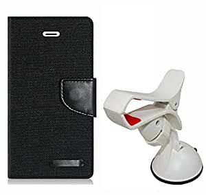 Aart Fancy Wallet Dairy Jeans Flip Case Cover for OnePlusOnePlus2 (Black) + Mobile Holder Mount Bracket Holder Stand 360 Degree Rotating (Black) by Aart Store