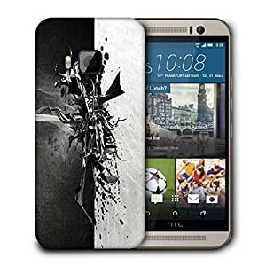 Snoogg Black And Grey Paint Printed Protective Phone Back Case Cover For HTC One M9