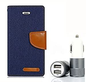 Aart Fancy Wallet Dairy Jeans Flip Case Cover for LenovoA-6000 (NavyBlue) + Dual USB Port Car Charger with Smartest & Fastest Technology by Aart Store.