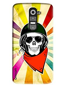 Omnam Skelton Printed Back Cover with Color Back Ground for LG G2
