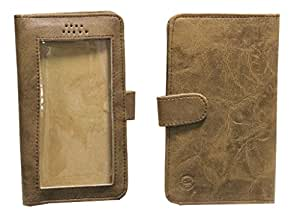 Jo Jo A11 Omni Leather Carry Case Pouch Wallet S View For Intex Aqua Wonder Light Brown