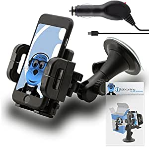 Black Multi-Directional Dashboard / Windscreen, Case Compatible (Use with or without your existing case!) Clip On Suction Mount In Car Holder with 1000 mAh [1A] MicroUSB In Car Charger For BLU Energy Diamond Mini