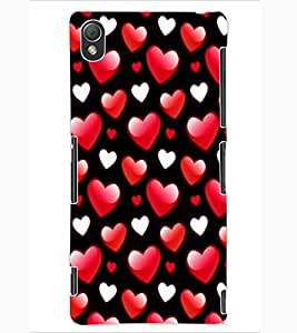ColourCraft Love Hearts Design Back Case Cover for SONY XPERIA Z3