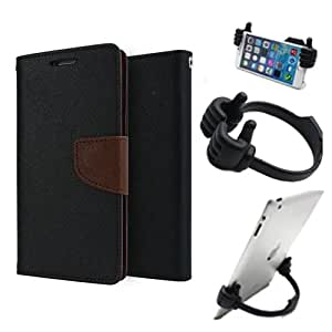 Aart Fancy Diary Card Wallet Flip Case Back Cover For Sony Xperia E3 - (Blackbrown) + Flexible Portable Mount Cradle Thumb Ok Stand Holder By Aart store
