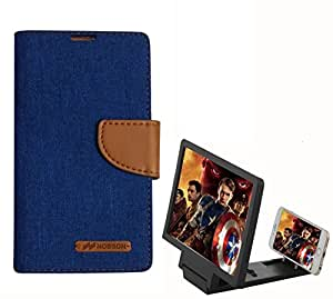 Aart Fancy Wallet Dairy Jeans Flip Case Cover for Redmi2S (Blue) + 3D SCREEN MAGNIFIER - HD VIDEO AMPLIFIER - with Stylish foldable holder stand by Aart Store.