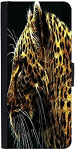 Snoogg Neon Tiger Graphic Snap On Hard Back Leather + Pc Flip Cover Moto-E