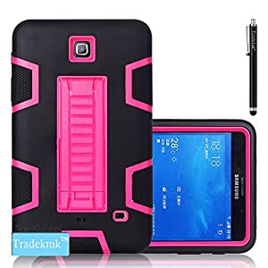 Galaxy Tab 4 Case, Tab 4 7-inch Back Case, Tradekmk(TM) Silicone Plastic Hybrid 3-In-1 High Impact Case Cover with Kickstand For Samsung Galaxy Tab 4 T230/T231/T235, [Stylus]-(Black+Rose Red)