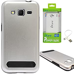 DMG Motomo Ultra Tough Metal Shell Case with Side TPU Protection for Samsung Galaxy Core Prime G360H (Silver) + 6600 mAh Power Bank