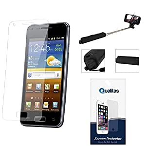 Qualitas Ultra Clear Pack of 10 Anti-Glare Anti-Scratch Anti-Fingerprint Screen Protector for Samsung Galaxy E7 + Wireless Bluetooth Selfie Stick with Image Zoom