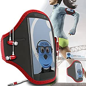 Red Black Adjustable Sports GYM Jogging Running ArmBand Case Cover with 3.5mm Aluminium Headphones For HTC One ST