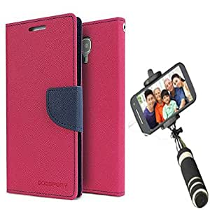Aart Fancy Diary Card Wallet Flip Case Back Cover For Samsung S5 - (Pink) + Mini Aux Wired Fashionable Selfie Stick Compatible for all Mobiles Phones By Aart Store