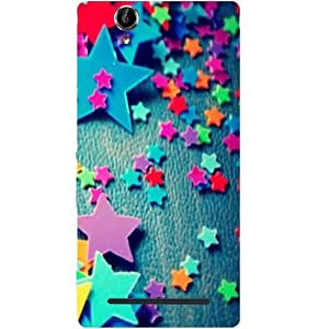 Casotec Colorful Stars Design Hard Back Case Cover for Sony Xperia T2 Ultra