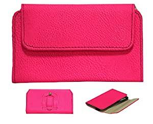 Jo Jo A4 G8 Belt Case Mobile Leather Carry Pouch Holder Cover Clip For Alcatel OT-993 Exotic Pink