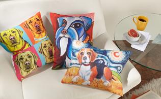 Pawcasso, Van Growl & Woofhol Pillows!