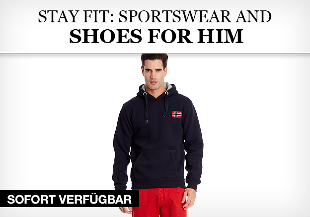 Stay fit: sportswear and shoes for him
