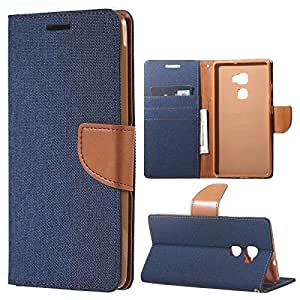 Aart Fancy Wallet Dairy Jeans Flip Case Cover for MicromaxQ380 (NavyBlue) By Aart Store