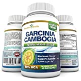 80% HCA 100% PURE Maximum Strength Garcinia Cambogia Extract - 180 Count (45 Day Supply) - 3,000mg Per Day - All Natural Appetite Suppressant, Carb Blocker, Diuretic and Weight Loss Supplement Formula - Manufactured in a USA GMP Certified Facility