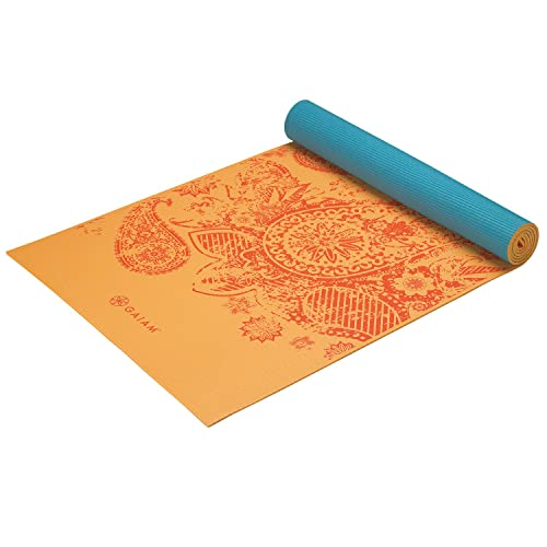 Gaiam print premium reversible yoga mat 5 mm elephant