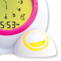 An interactive, talking time-teaching game has adjustable skill levels and teaches time-telling concepts on the analog and digital clock faces.