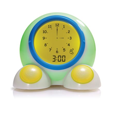 Teach Me Time! glows a soft yellow through the evening and then turns green in the morning at the OK to Wake! time.