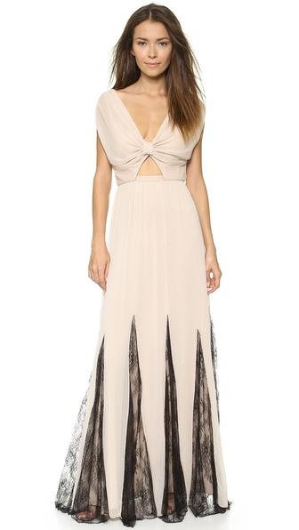 Alice + Olivia Ginevia Knot Front Maxi Dress - Nude