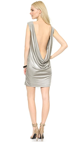 Grace Brenda Dress With Draped Back - Silver Grey